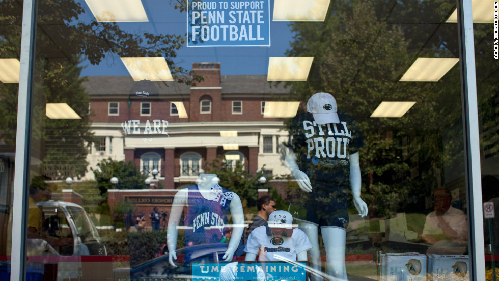 T-shirts showing Penn State pride are seen at the student bookstore near the university campus.