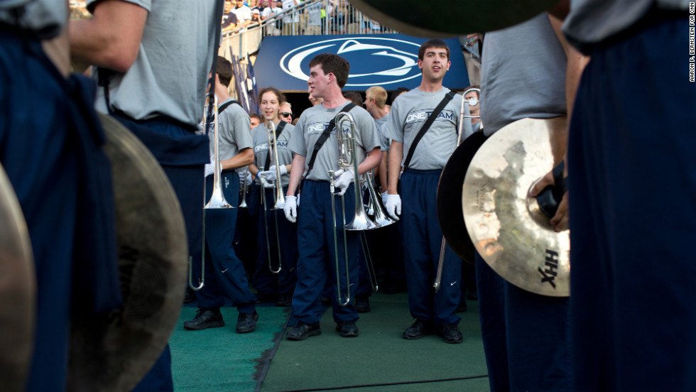 Members of Penn State's Big Blue Band prepare to take the field.
