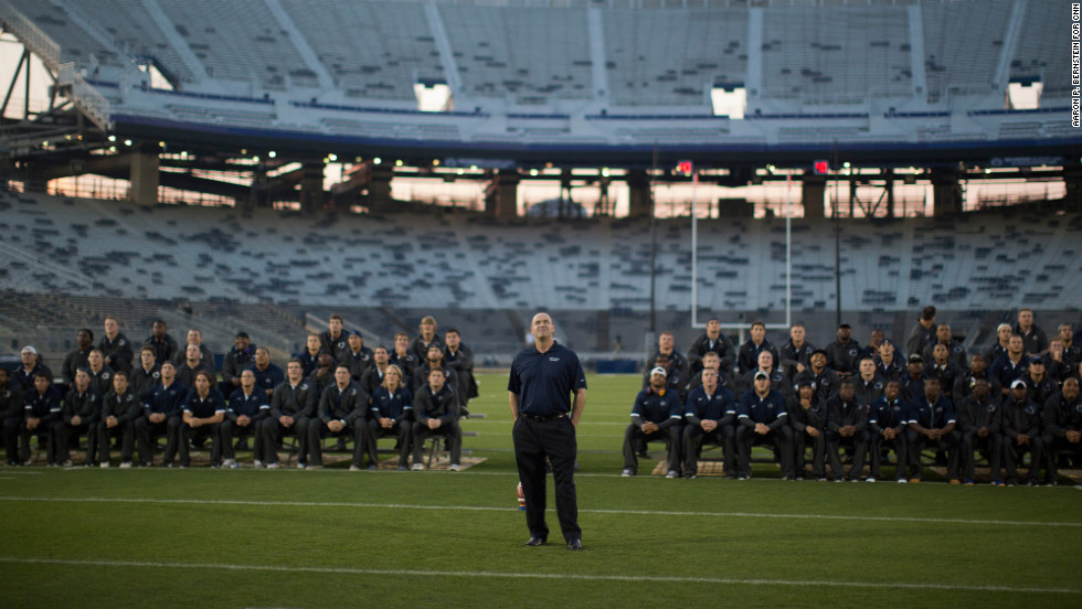 Penn State head football coach Bill O'Brien looks on during the Football Eve pep rally.