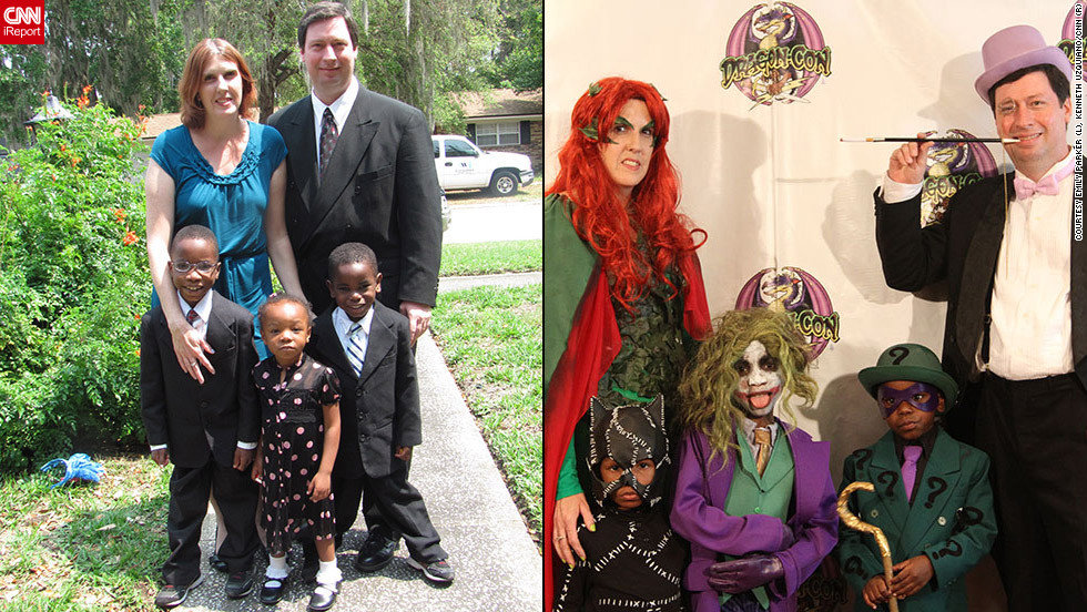 "<strong>The Parker family as Poison Ivy, Catwoman, Joker, Riddler, and Penguin (""Batman"")</strong>""Before adopting our kids, we attended Dragon*Con for a couple of years without costumes,"" said Emily Parker. ""But then we discovered how much fun it is to dress up and <a href=""http://ireport.cnn.com/docs/DOC-833965"">we were all hooked</a>.""Now the kids have been to four Dragon*Cons, and the Parkers always attend in family costumes. This year, they were villains from ""Batman"" on Saturday; on other days their costumes celebrated Indiana Jones, Doctor Who, The Avengers and Men in Black. ""Keeping track of accesories for all five of us is definitely a challenge,"" admits Emily. ""Lucky for us, our kids are very cooperative with trying on the costumes and trying them on again when adjustments are made.  And in the end, it's so much fun to become our characters for the weekend and see how people react to them."""