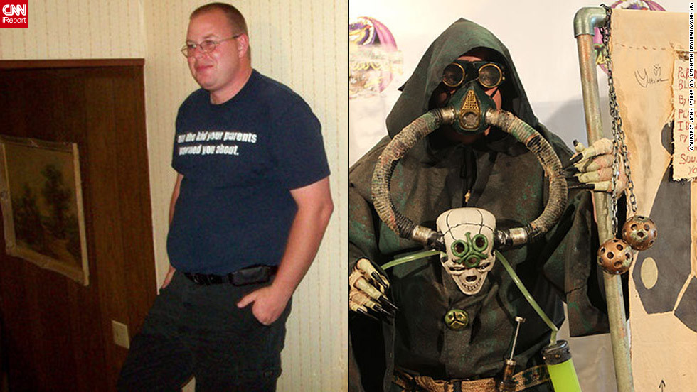 "<strong>John Stump as Plague Preacher of Nurgle (""Warhammer 40,000"")</strong>John Stump's goal was to create this costume using only items from secondhand or dollar stores to keep the cost as low as possible. He ended up creating the whole elaborate look for around $50.Stump and his wife worked on the costume for about eight months. ""I think the biggest struggle with putting this costume together is that I have been learning to use <a href=""http://ireport.cnn.com/docs/DOC-831217"">a lot of techniques that I have never used</a> before ... such as aging, working with clay, and working with resin,"" he explained. ""We spent a lot of time learning how to use very cheap techniques to achieve the same looks that a lot of people spend a lot of money to have done to a costume.""The outfit is Stump's first completely handmade costume, and he's ""very excited to try out my new skills on some other costuming projects"" and learn more new skills, like sewing."