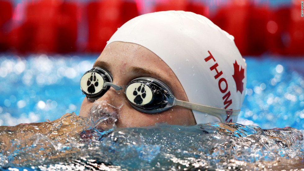 Amber Thomas of Canada competes in the women's 100-meter backstroke - S11 heat 1.