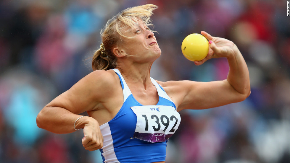 Alla Malchyk of Ukraine competes in the women's shot put F35/36 final.