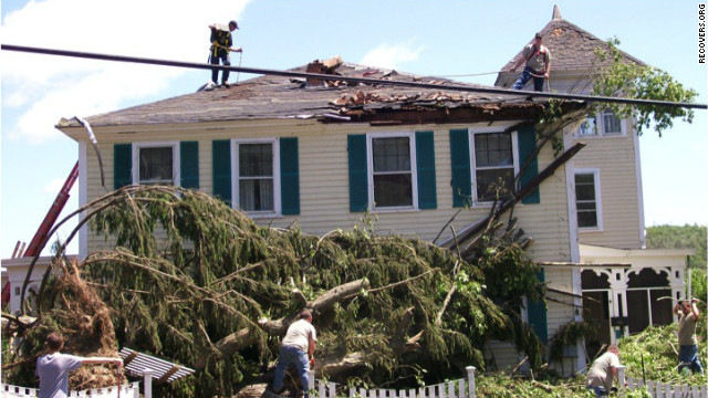 Caitria O'Neill's house in Monson, Massachusetts, suffered severe damage from a tornado last summer.