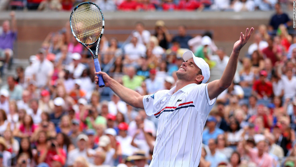 Andy Roddick of the United States celebrates after defeating Fabio Fognini of Italy on Sunday, September 2.