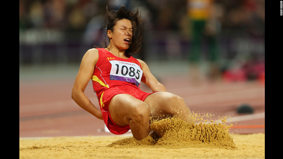 Jingling Ouyang of China competes in the women's long jump F46 final. Ouyang won the bronze medal.