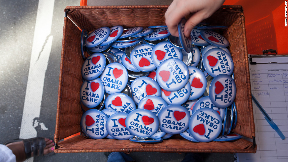 Buttons sold Monday show support for the Affordable Care Act, also known as Obamacare.