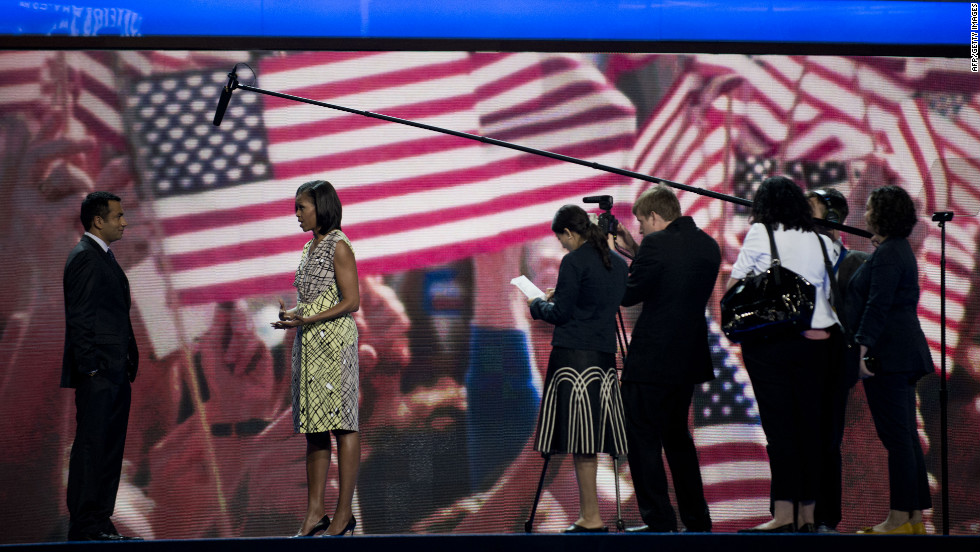 First lady Michelle Obama is interviewed before the start of the convention on Monday, September 3.