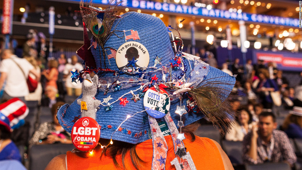 Kooch Jacobus of New Mexico supports Presient Barack Obama on the convention floor Tuesday.