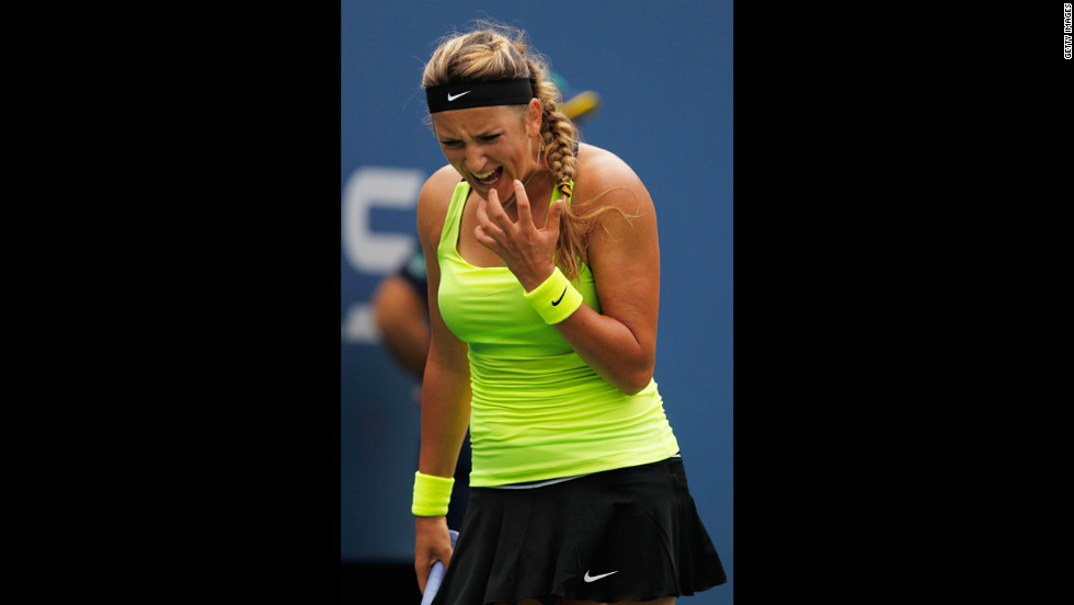 Victoria Azarenka of Belarus reacts against Samantha Stosur of Australia on Tuesday.