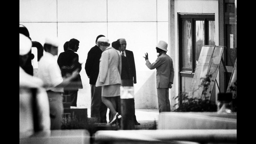 A Black September terrorist talks with German officials, Munich, September 1972.