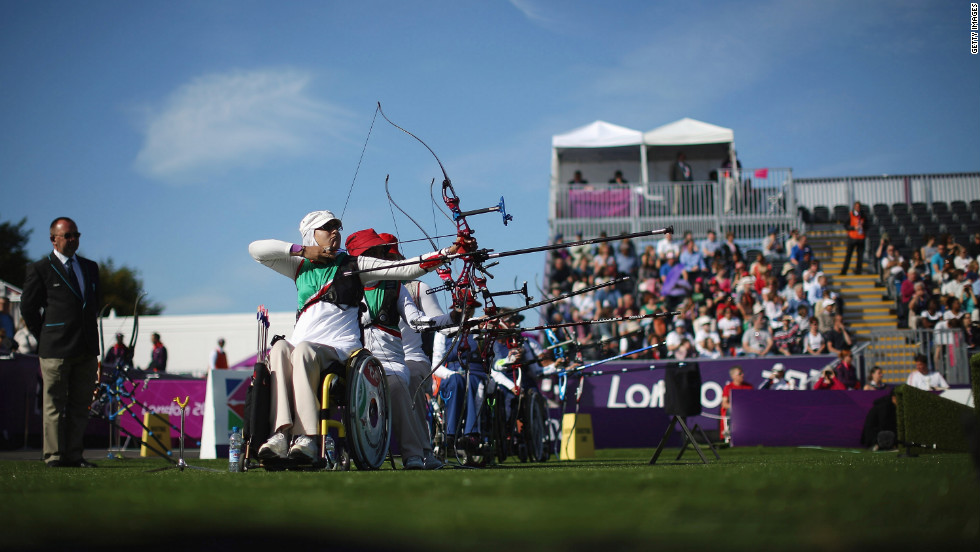 Zahra Javanmard of Iran competes in the women's team recurve open qualifying round in archery on Wednesday.