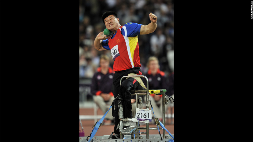 China's Wang Yanzhang competes in the men's shot put F34 final on Tuesday.