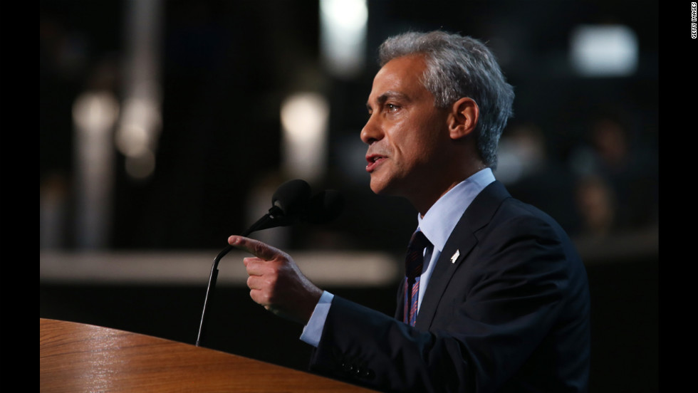 Rahm Emanuel, who served as President Barack Obama's first chief of staff, addresses the crowd Tuesday.