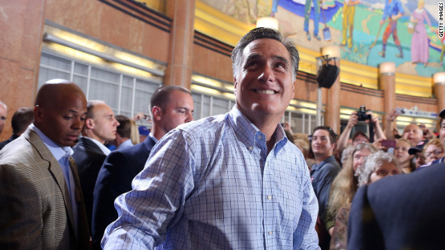 Republican presidential candidate Mitt Romney greets supporters during a campaign rally Saturday in Cincinnati.