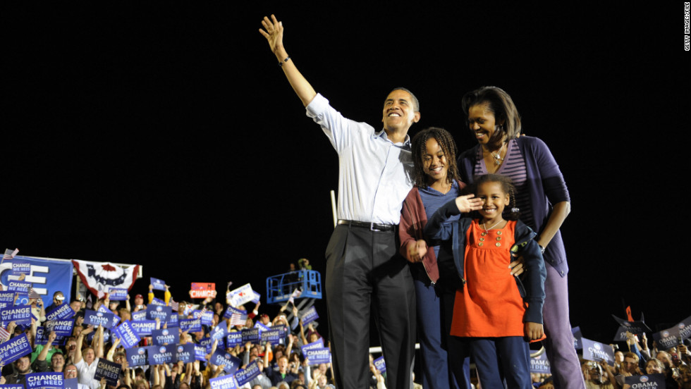 Just days before he was elected, then-Democratic presidential candidate U.S. Sen. Barack Obama of Illinois, campaigns with his family at JFK Stadium in Springfield, Missouri, November 01, 2008.