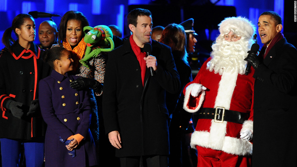 The first family at the National Tree Lighting Ceremony on The Ellipse in early December 2011 singing with Kermit the Frog.
