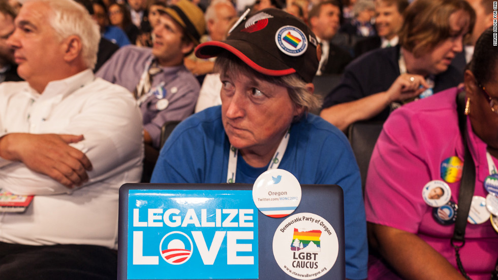 K.C. Hanson of Oregon watches the DNC on Wednesday in Charlotte, North Carolina.