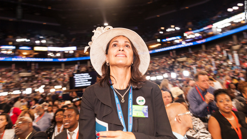 A delegate stands during Wednesday night's program.