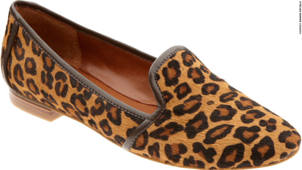 Banana Republic leopard print flats prove that shoes that easily slip off at airport security don't need to be dull.