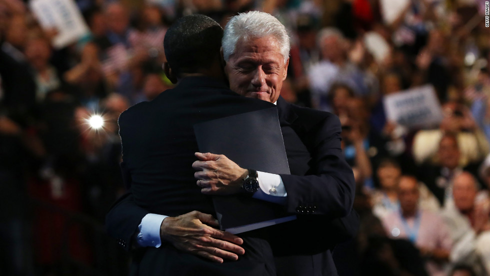 Former President Bill Clinton embraces President Barack Obama at the end of his speech Wednesday.