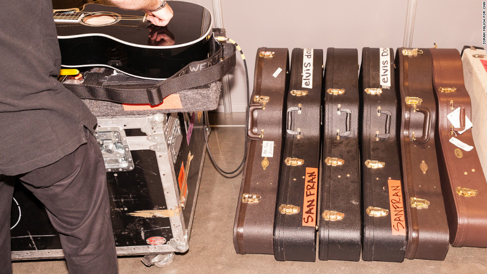 Guitars are tuned Thursday for the band Foo Fighters, which will perform the final night of the convention.