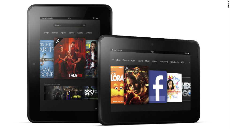 There's a lot more competition now, but Amazon's Kindle Fire was the first tablet to dent iPad's dominance with its smaller size and lower price tag. The new 7-inch Kindle Fire HD costs $199, while a bigger, 8.9-inch Fire HD sells for $299.