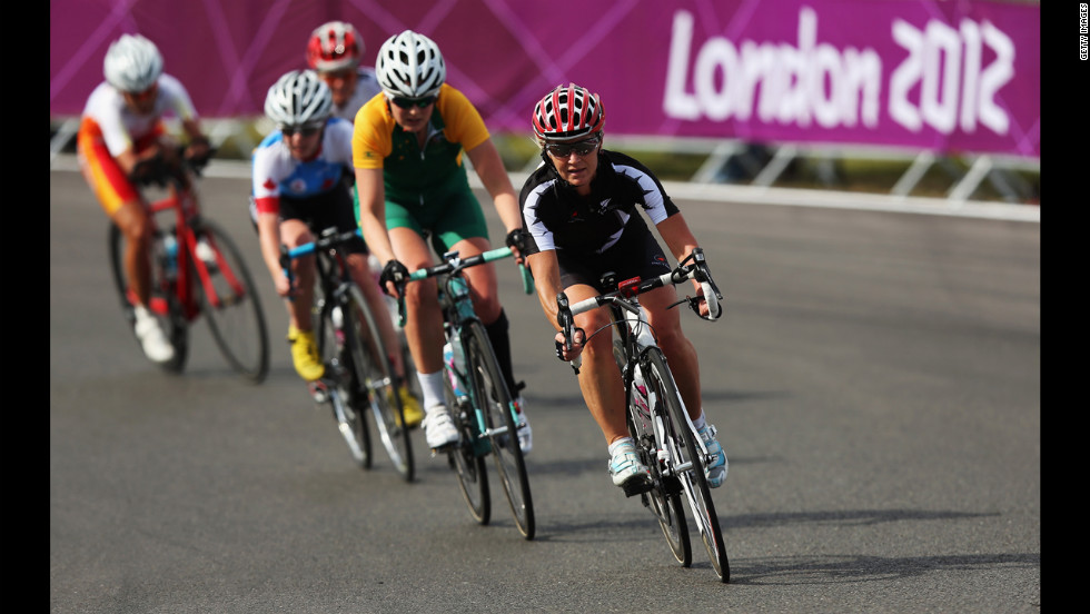 Fiona Southorn of New Zealand in action in the women's individual C 4-5 road race on Thursday.