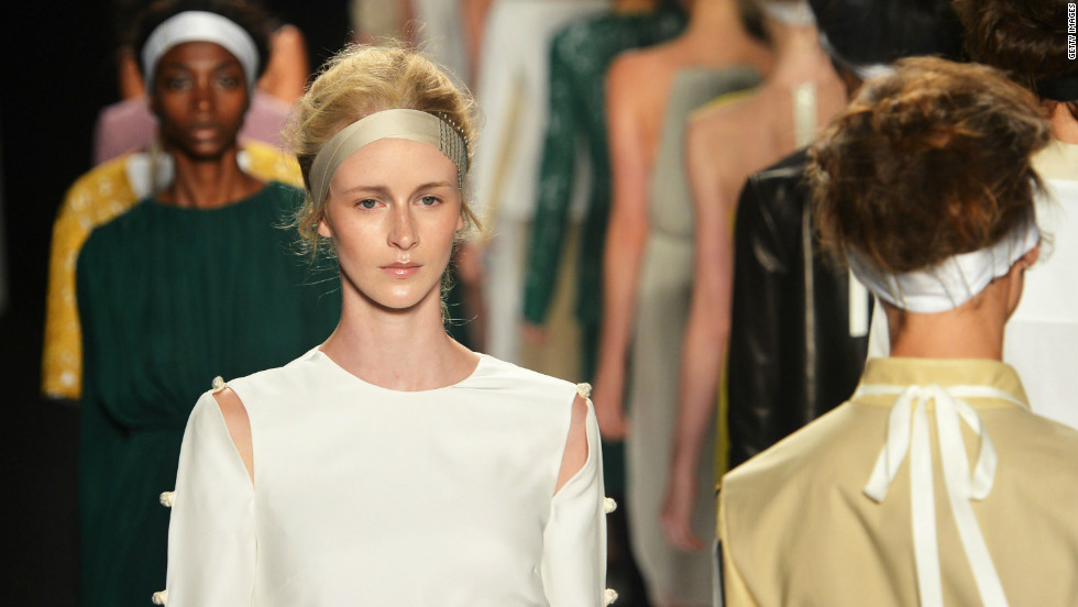 Models wore their hair in beautifully messy buns for the Chadwick Bell Spring 2013 fashion show.