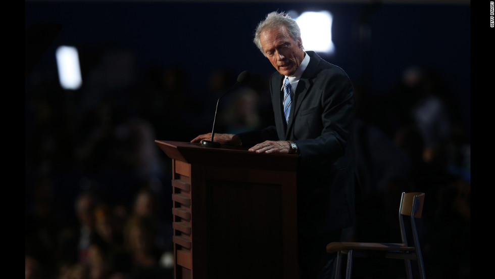 Actor Clint Eastwood addresses a chair standing in as Obama during the final day of the RNC on Thursday, August 30.