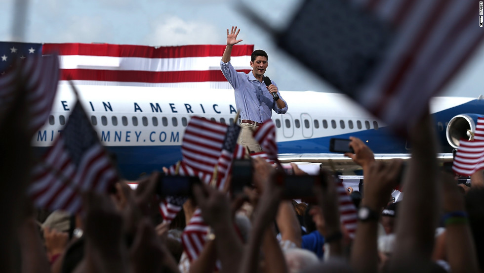 Republican vice presidential candidate Paul Ryan waves to supporters during an RNC rally on Friday, August 31, in Lakeland, Florida.