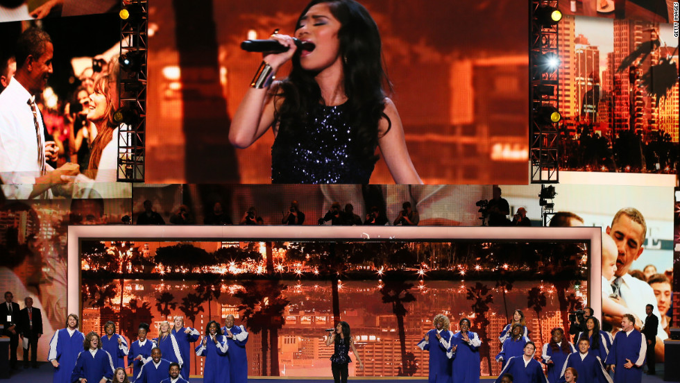"""American Idol"" runner-up Jessica Sanchez performed ""All I Need To Get By"" with the God's Appointed People Choir at the DNC on Wednesday."
