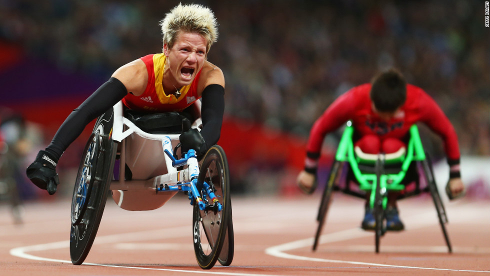 Marieke Vervoort of Belgium reacts as she wins gold in the women's 100-meter T52 final on Day 7 of the London 2012 Paralympics on Thursday.