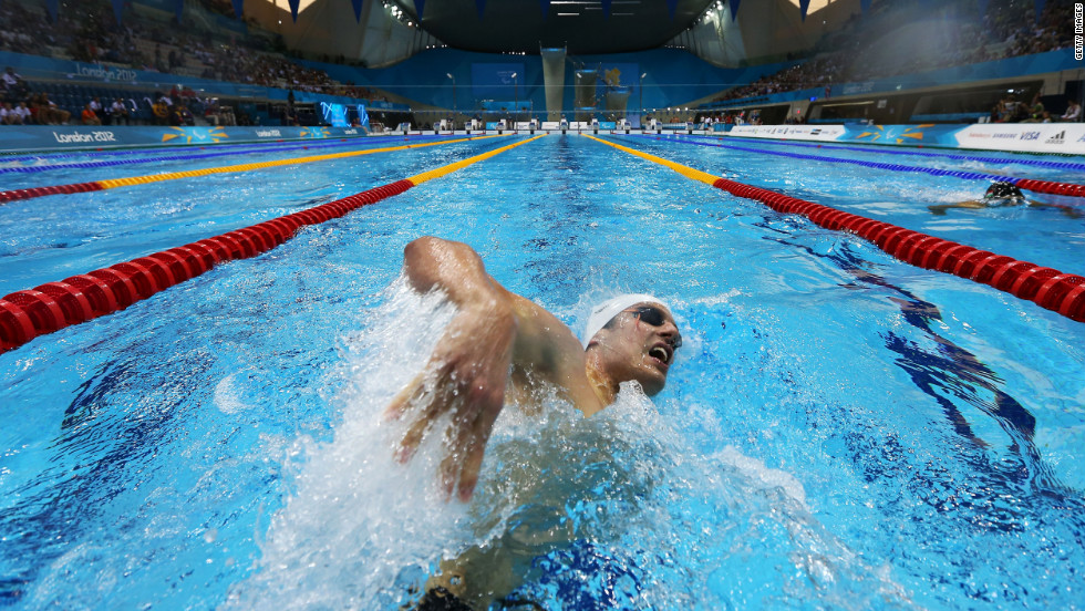 Matthew Cowdrey of Australia competes in the men's 200-meter individual medley - SM9 heat 2 at the Aquatics Center on Thursday.