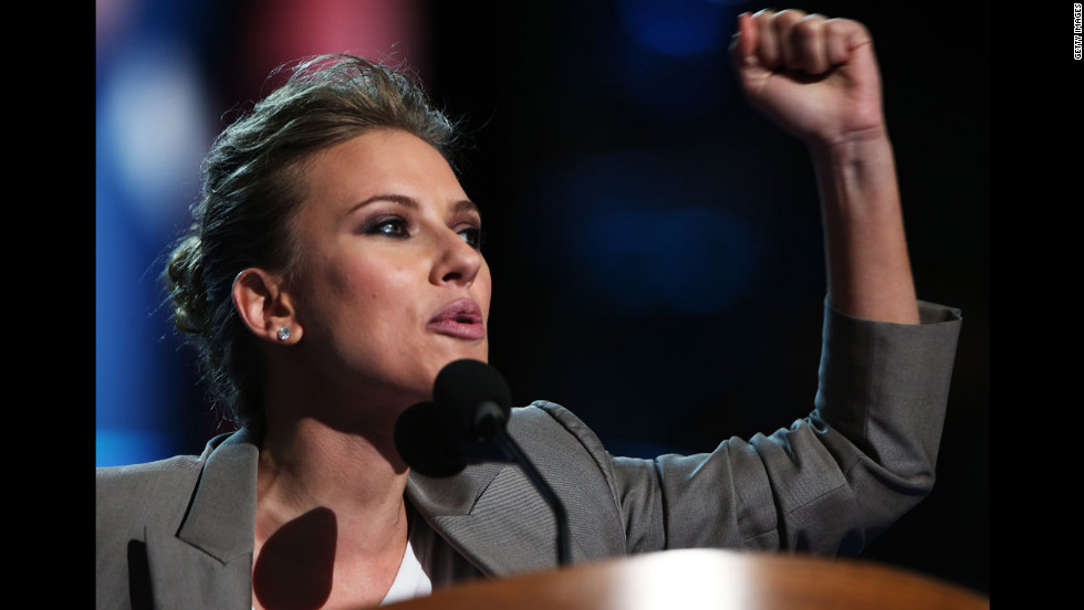 Actress Scarlett Johansson addresses delegates on Thursday.