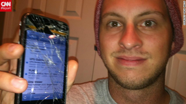 Zach Hasty tells CNN iReport his broken phone was a great ice-breaker at bars.