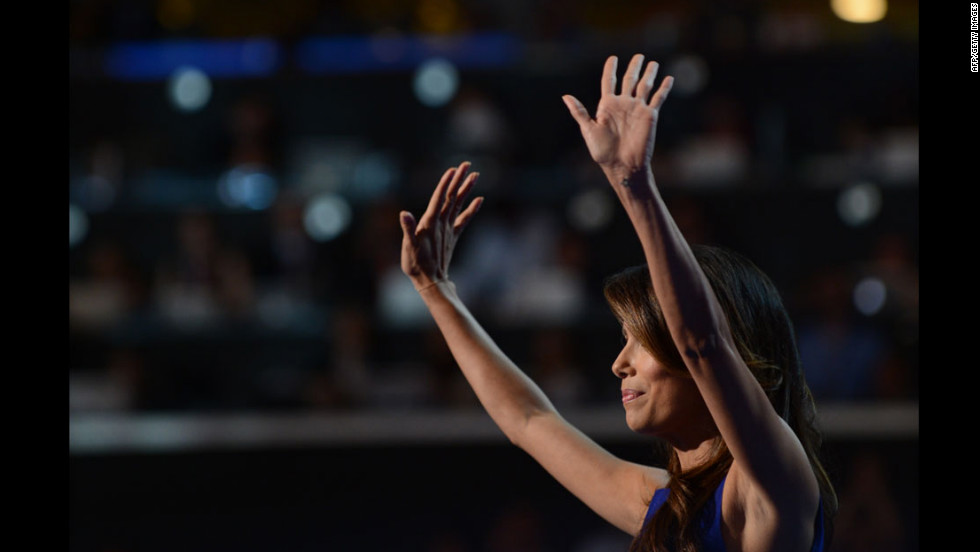 Obama campaign co-chair Eva Longoria waves to the audience on Thursday.