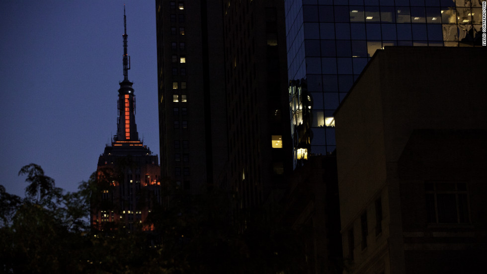 The Empire State Building is lit up in red for Fashion's Night Out.