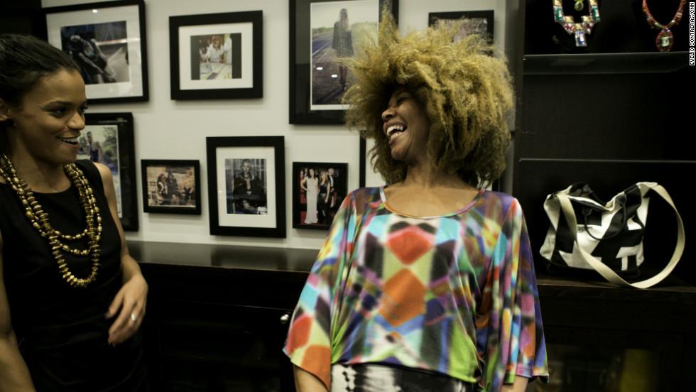 Fantcha Mendes laughs at Nicole Miller in SoHo.