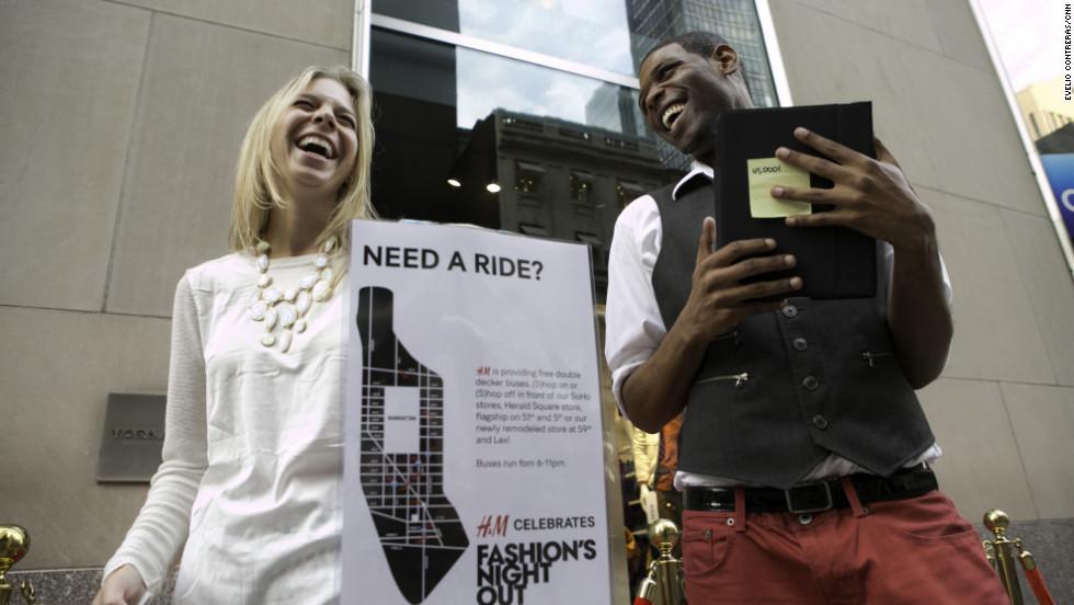 Ashley Cohen, 23, shares a laugh outside H&M.