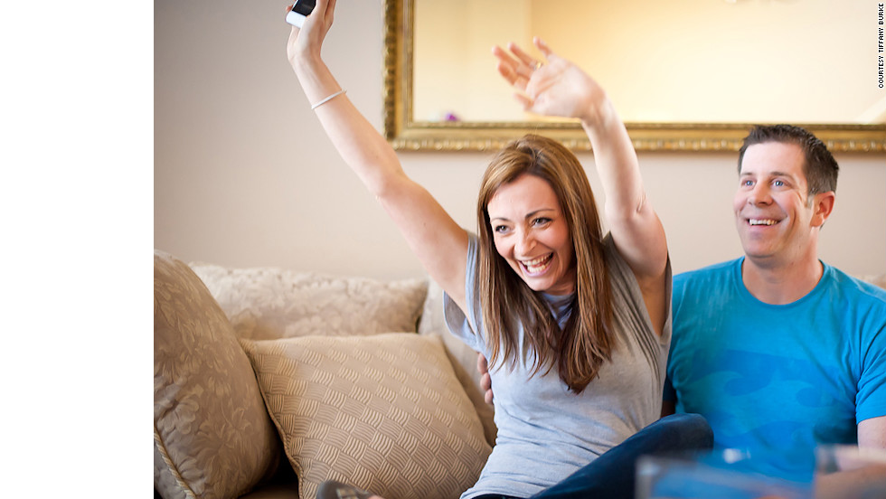 Lucich gives an excited cheer as she hears her sister-in-law's news.