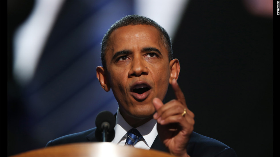 Barack Obama speaks on stage to accept the nomination for president on Thursday.