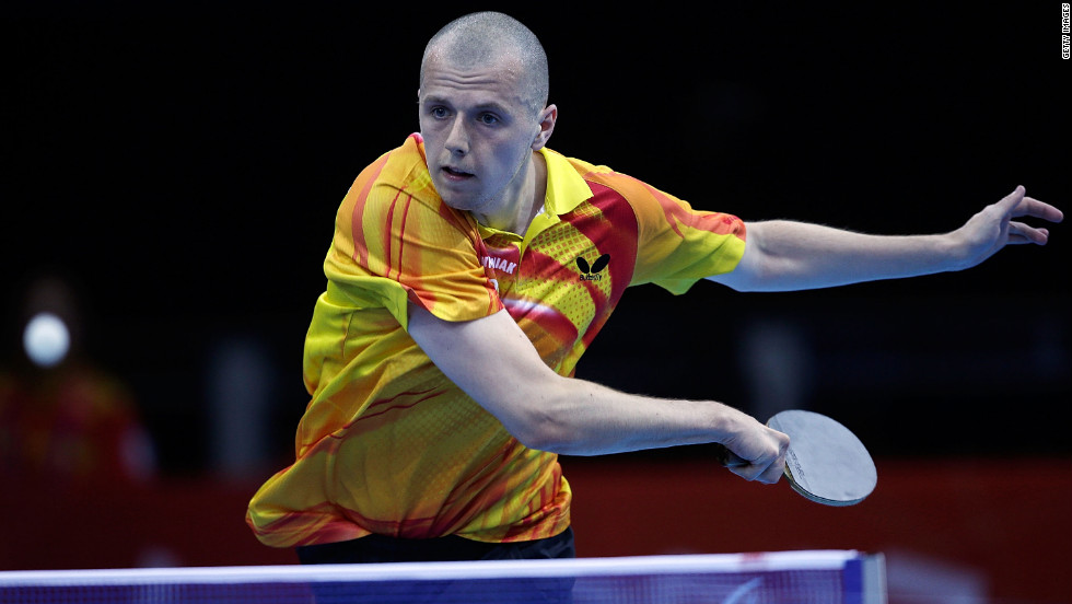 Poland's Sebastian Powrozniak competes in the men's team table tennis Class 9-10 on Friday.