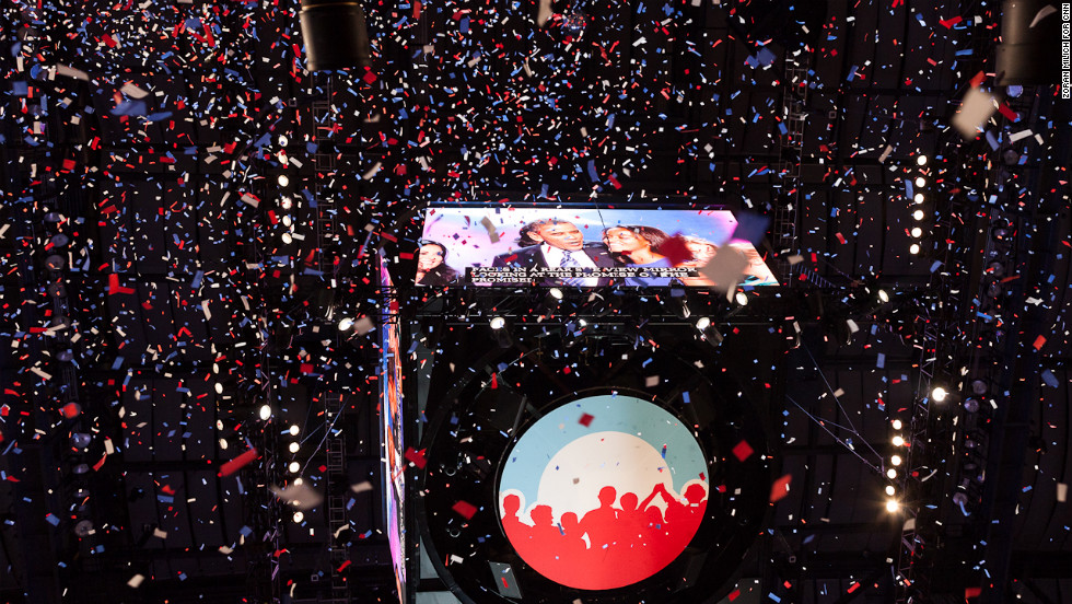 "Confetti falls as President Barack Obama speaks on the final day of the convention on Thursday, September 6. Photographer Zoran Milich wandered around Charlotte during the Democratic National Convention. Take a look at his view of the action, and <a href=""http://www.cnn.com/2012/08/26/politics/gallery/unconventional-rnc/index.html"">look back at his images from the Republican National Convention.</a>"