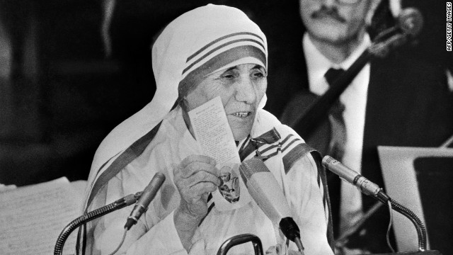 Nobel Peace Prize Mother Teresa delivers a speech in Oslo's University after receiving her Prize, on December 10, 1979 in Oslo.