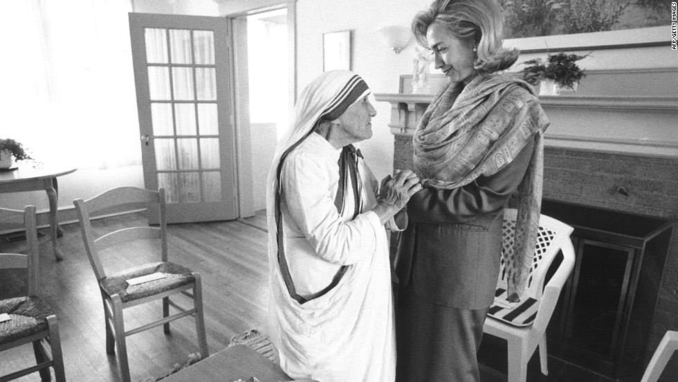 First lady Hillary Rodham Clinton meets with Mother Teresa at the opening of the Mother Teresa Home for Infant Children on June 19, 1995, in Washington.