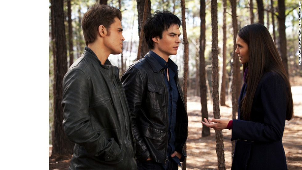 "Vampire brothers Stefan (Paul Wesley), left, and Damon (Ian Somerhalder) ""just want to blend in with regular people, so they wear what is considered contemporary for whatever time period they are in,"" Leverett said. Stefan's leather jacket is Hugo Boss and Damon's is John Varvatos, ""which hold up really well in a supernatural fight,"" she jokes."