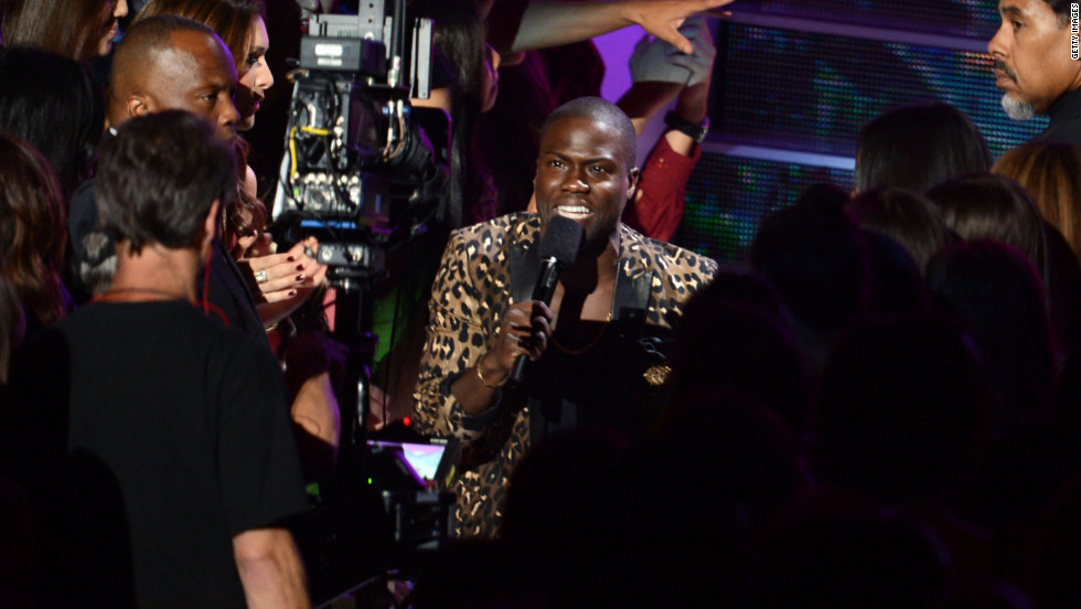 Host Kevin Hart speaks during Thursday night's awards' show.