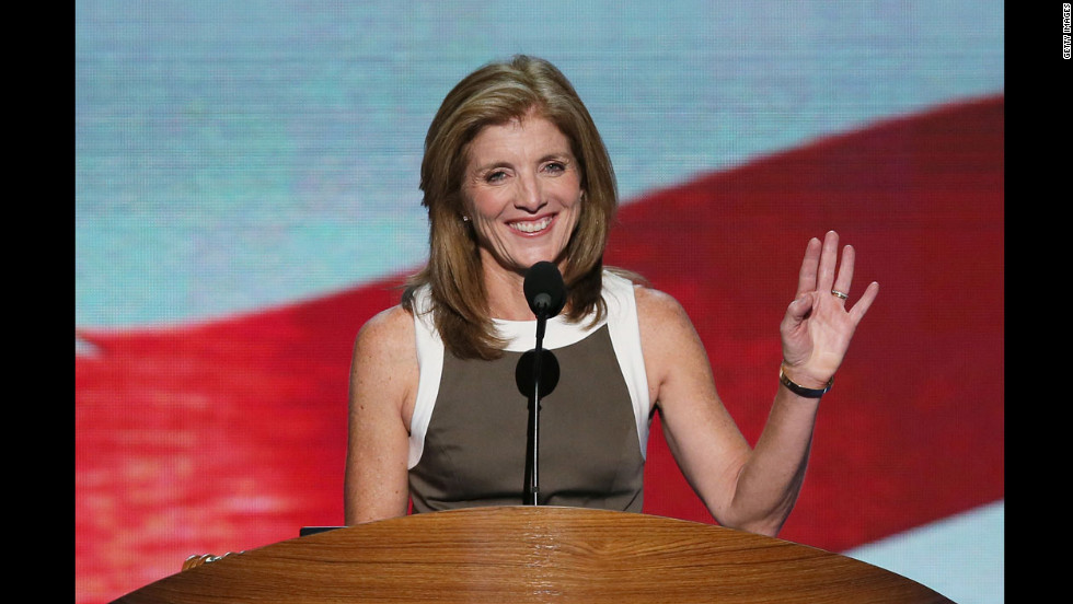 Caroline Kennedy speaks to the delegates on Thursday.