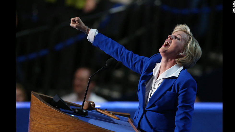 Former Michigan Gov. Jennifer Granholm gestures during her speech on Thursday.
